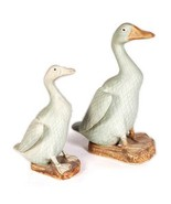 Pair of Chinese pale Green Painted bisque Porcelain Geese - $202.93