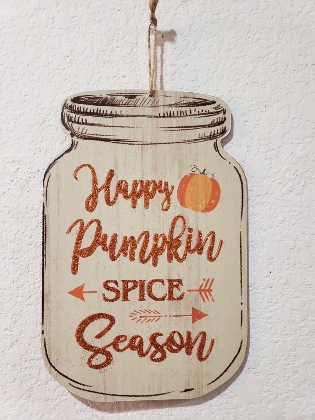 Fall Thanksgiving PUMPKIN SPICE Mason Jar Pumpkins Wall Sign Plaque Decor