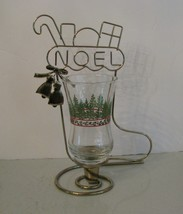 Christmas Table Top Home Interiors Wire NOEL Stocking w Holiday Votive V... - $13.85