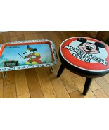 Vintage DISNEY Mickey Mouse Club Foot Stool 1970s and 1980 Metal Bed Tra... - $89.05