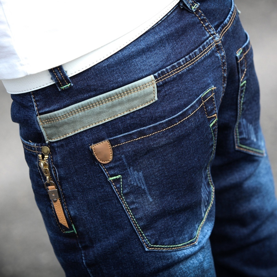 The new spring and summer men's jeans slim pants male Korean men thin youth long