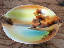 "Vintage Noritake Red Seal 9"" Oval Serving Bowl ""Tree In The Meadow"" 2 Ha... - $7.42"