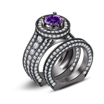 14k Black Gold Plated 925 Silver Round Cut Amethyst Bridal Engagement Ring Set - $89.87