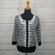 NWT Talbots Black & White Striped Floral Sequin Embellished Cardigan Plu... - $47.52