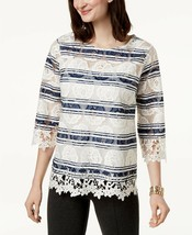 CHARTER CLUB White/Blue Striped Top w/Allover Floral Lace Embroidery NWT XS - $12.48