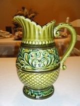 VINTAGE MULTI COLOR GREEN CERAMIC PITCHER 6.5 HIGH 3.25 OPENING - $24.74