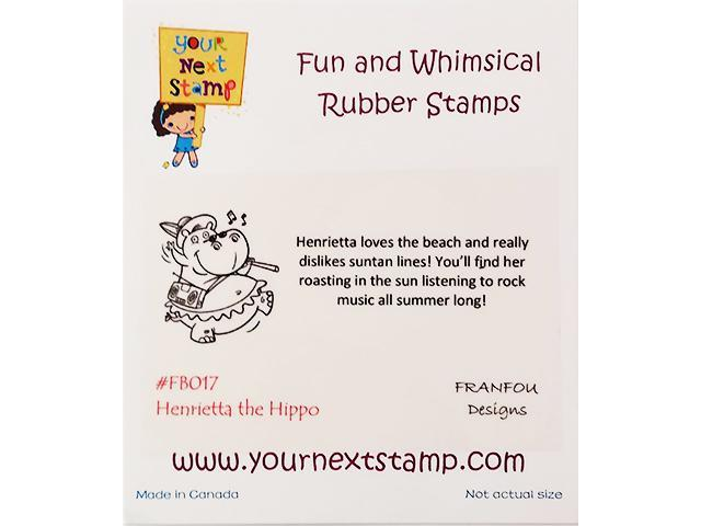 Your Next Stamp Henrietta the Hippo Unmounted Rubber Stamp #FB017