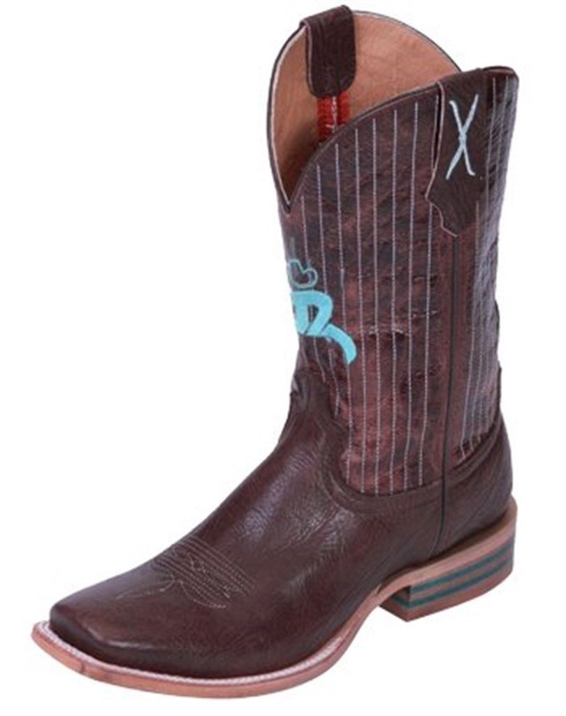Primary image for Twisted X Mens Chocolate Leather Square Toe Hooey Cowboy Boots 12D 13D 12 D 13 D