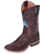 Twisted X Mens Chocolate Leather Square Toe Hooey Cowboy Boots 12D 13D 1... - £152.28 GBP