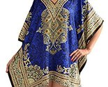 Sante Classics Women's Taj Border Poly Microfiber Short Caftan One Size Blue