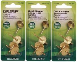 3 New! Hillman AnchorWire 60 lb. Brass One Piece Quick Hanger 3 pk 122186 - $9.99