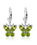 1.24 CT Carat 14K Solid White Gold Butterfly Earrings Natural Peridot Ge... - $350.19