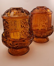 Set of 2 Amber Glass Indiana Fairy Lamps Candle Bars and Stars   - $19.99