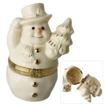Lenox Treasures The Snowmans Surprise Trinket Box Porcelain Snowman w Charm - $21.03