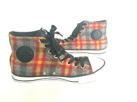 Converse All Star Woolrich Wool Plaid Chuck Taylor Sneaker Red Gray Yellow Men 9 - $59.39