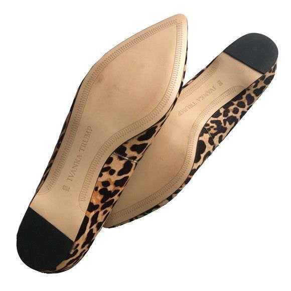 Super Posh Ivanka Trump Tizzyly Flats In Leopard Size 9 Black Tan