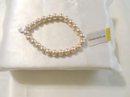 "Charter Club 7"" Silver-Tone Simulated Pearl Stretch Bracelet C677 - $10.55"