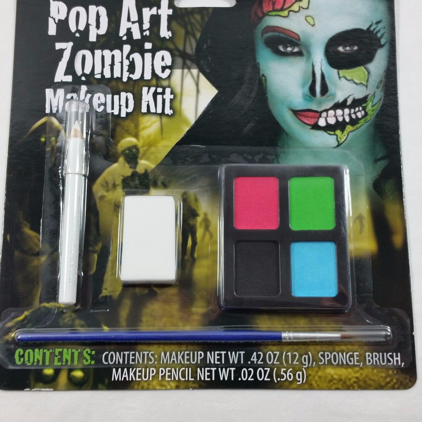 Makeup Kit Pop Art Zombie Blue Face Paint Day of the Dead Halloween Costume Girl
