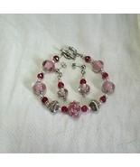 Cotton Candy Pink Lampwork Glass Rondel Bracelet Earring Set - $18.99