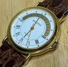Vintage Exactly Swiss Men Gold Tone Roman Analog Quartz Watch Hour~Date~... - $32.29