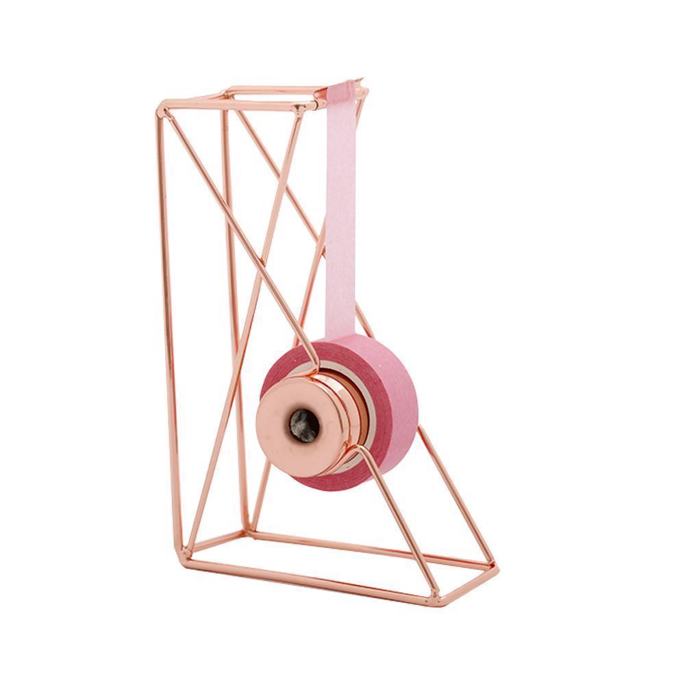 Tape Dispenser Desktop Art Storage Iron Cutter Rose Gold Organizer Office Supply