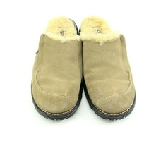 UGG Australia 5457 Womens Sz 8 Clog Mule Beige Leather Suede Shoes Sherpa Lined - $49.45