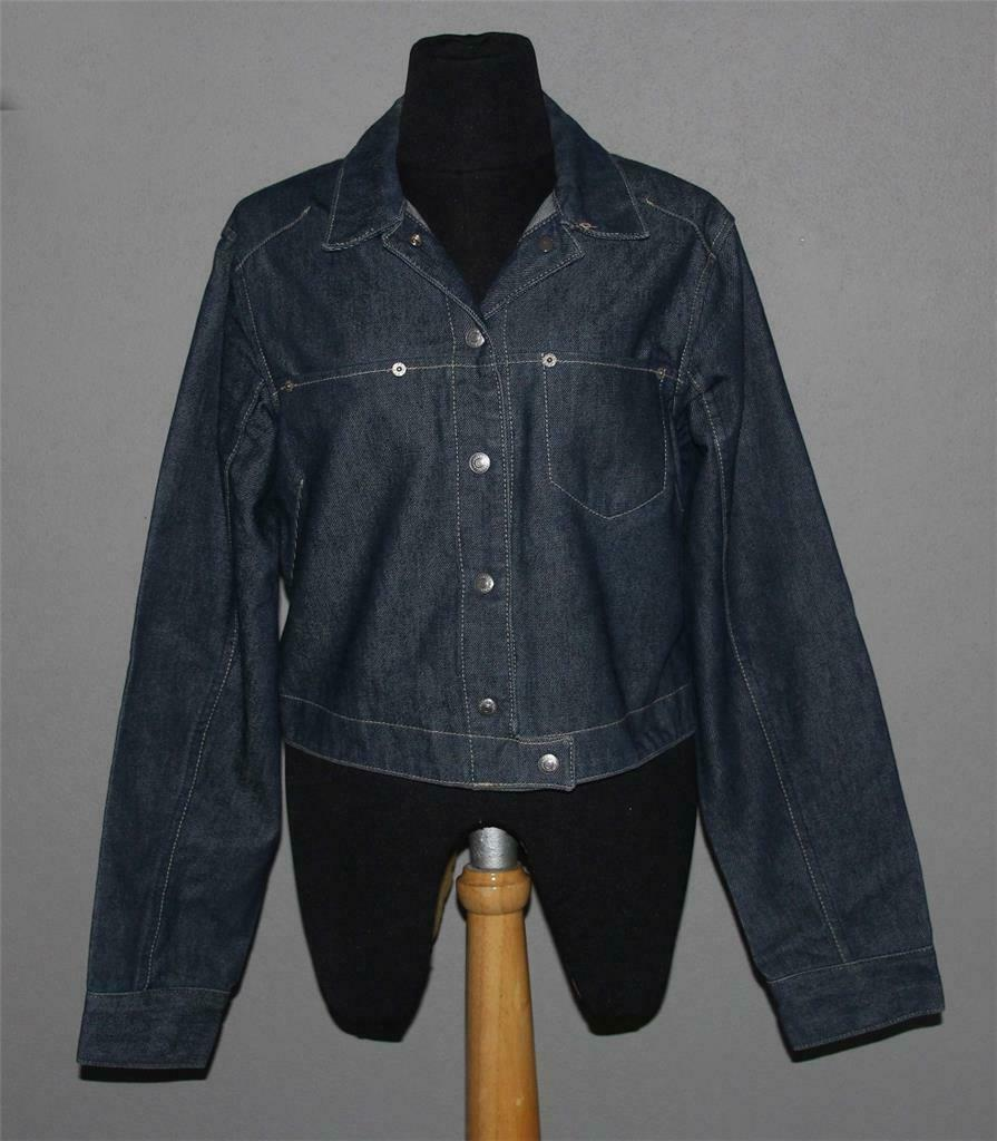 Primary image for Levi's Engineered Med-Dark Blue Cropped Trucker 2 Pkt Snap Front Jacket Wms M