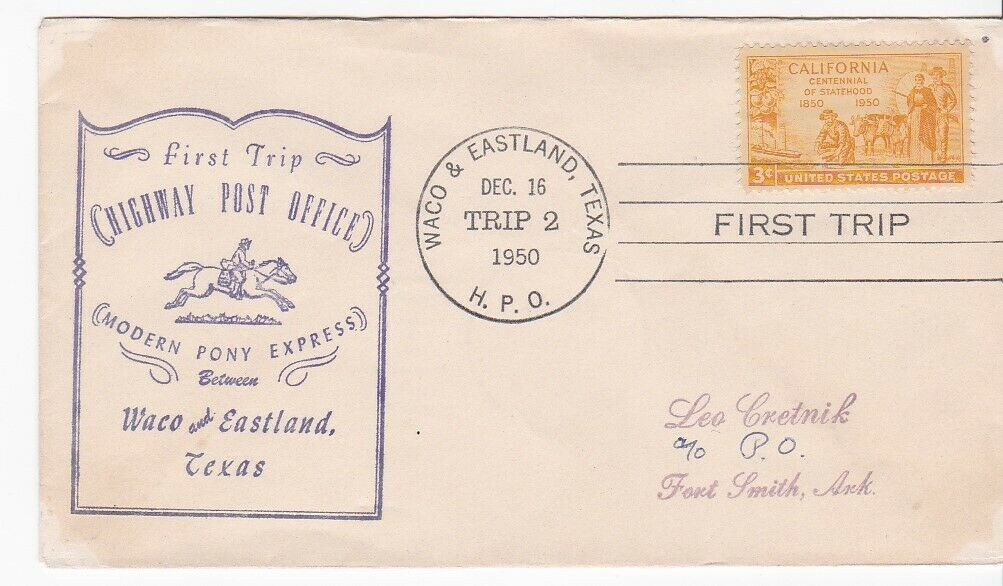 FIRST TRIP H.P.O. WACO & EASTLAND TEXAS DEC 16 1950 TRIP 2