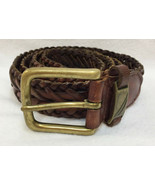 Nautica Men's Belt Genuine Leather Woven Braid Brown Brass Tone Buckle S... - $10.88