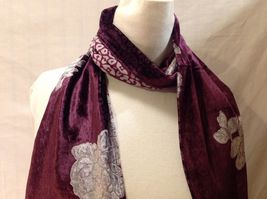Gorgeous Combo Scarf Velvet and Satin floral vintage rose abstract color choice image 14
