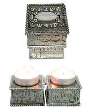 Judaica Silver Plated Travel Candlestick Shabbat Kodesh Holiday Jerusalem View