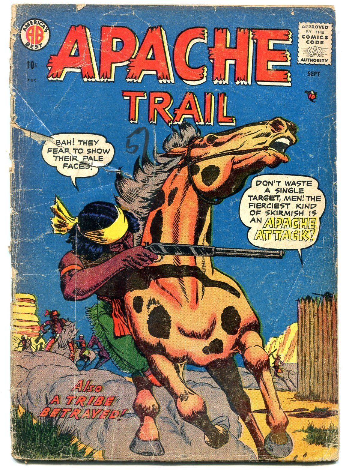 APACHE TRAIL #1 1958 STEINWAY COMICS DON HECK ART  WEST FR