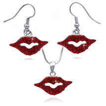 Red - Sexy Small Lips Pendant Necklace Dangle Hook Earrings Jewelry Set - $27.98