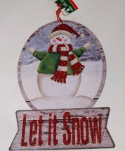 """Christmas House """"Let It Snow"""" Sign -Glittery Snowman Standing On Sparkli... - $7.00"""