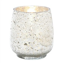Large Silver Mercury Glass Hurricane Candle Holder - $15.76