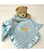 Small Wonders Blue Teddy Bear Rattle Lovey Plush HUGS Security Blanket 1... - $13.99