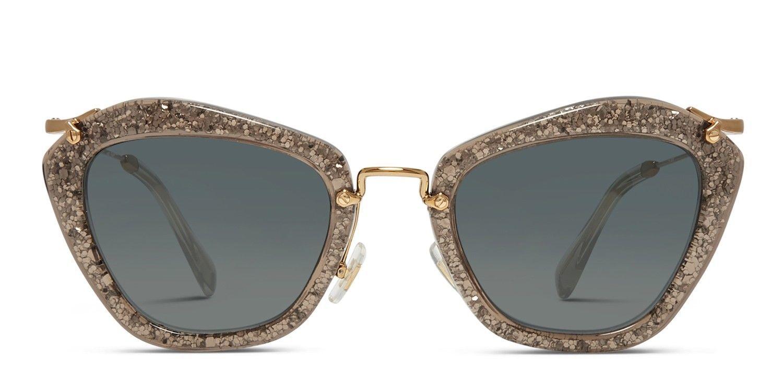 NEW MIU MIU Special Project 55 mm Noir Cat Eye Sunglasses Smoke Glitter