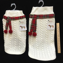 Dog Sweater White Cable Knit Plaid Scarf Large or Medium Size Holiday Wi... - $14.24