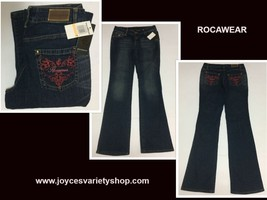 Rocawear Women's Jeans Sz 7 (28 x 32) Flare Embroidered NWT Dark Wash - $21.99