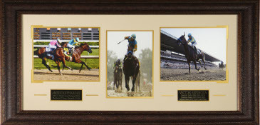 Primary image for Victor Espinoza unsigned Horse Racing 3 Photo Triple Crown Leather Framed 41x19