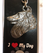 Shetland Sheepdog Pewter Key Chain New in Acrylic Box - $12.00