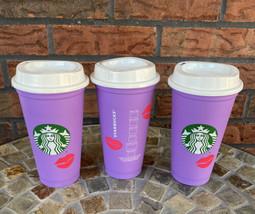 3 Starbucks Valentine 2021 Hot Cup Lid Reusable Purple Lips Change Color... - $34.30