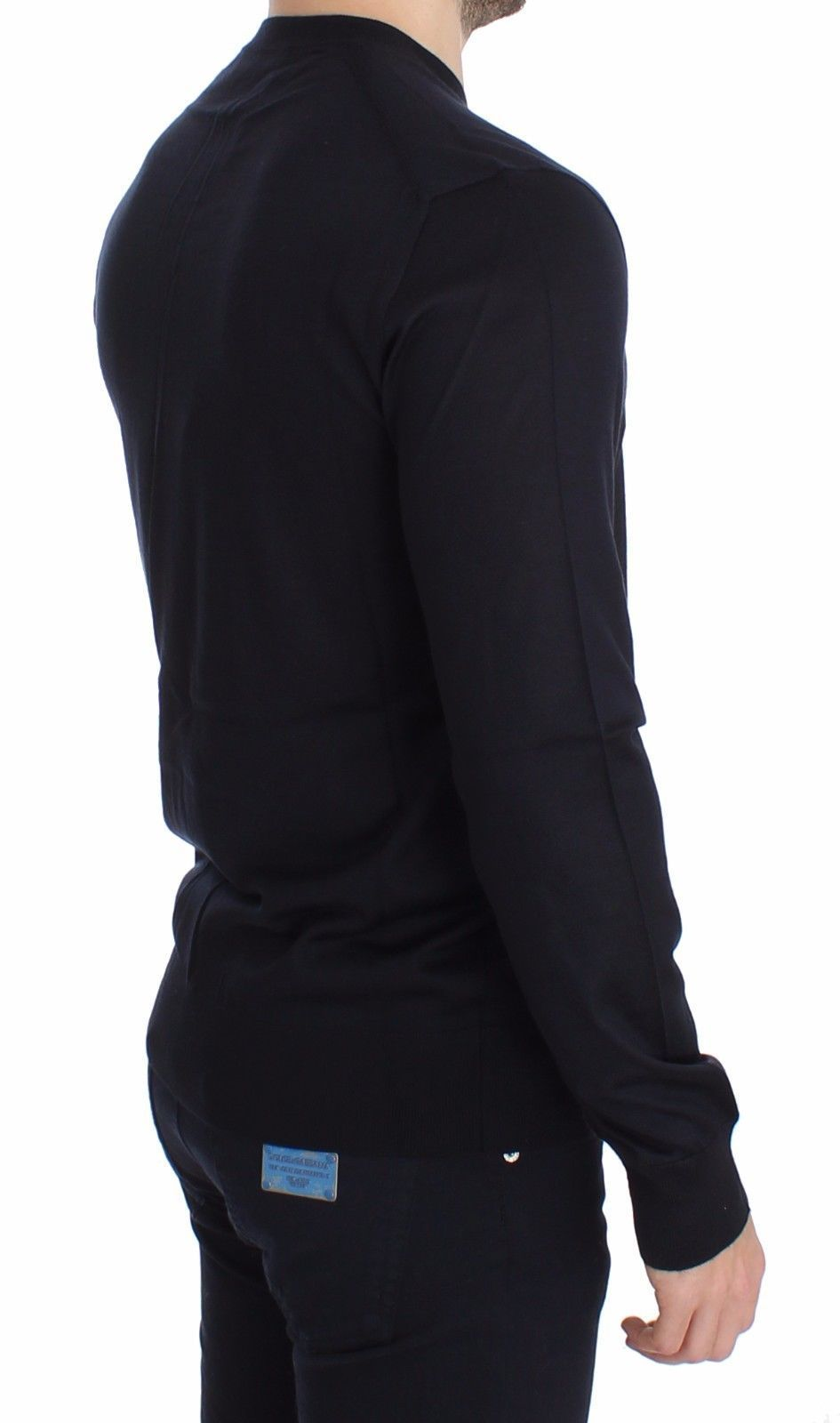Dolce & Gabbana Blue Silk Cashmere V-neck Sweater Pullover 14034