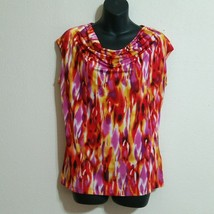 Jones New York Women's Sleeveless Blouse Cowl Neck Red Yellow Orange Abs... - $4.99