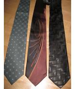 LOT /3 Mens SILK NECK TIE NEW! Rust Blk Grn HANDSOME Prints MARKS & SPENCER - $13.03