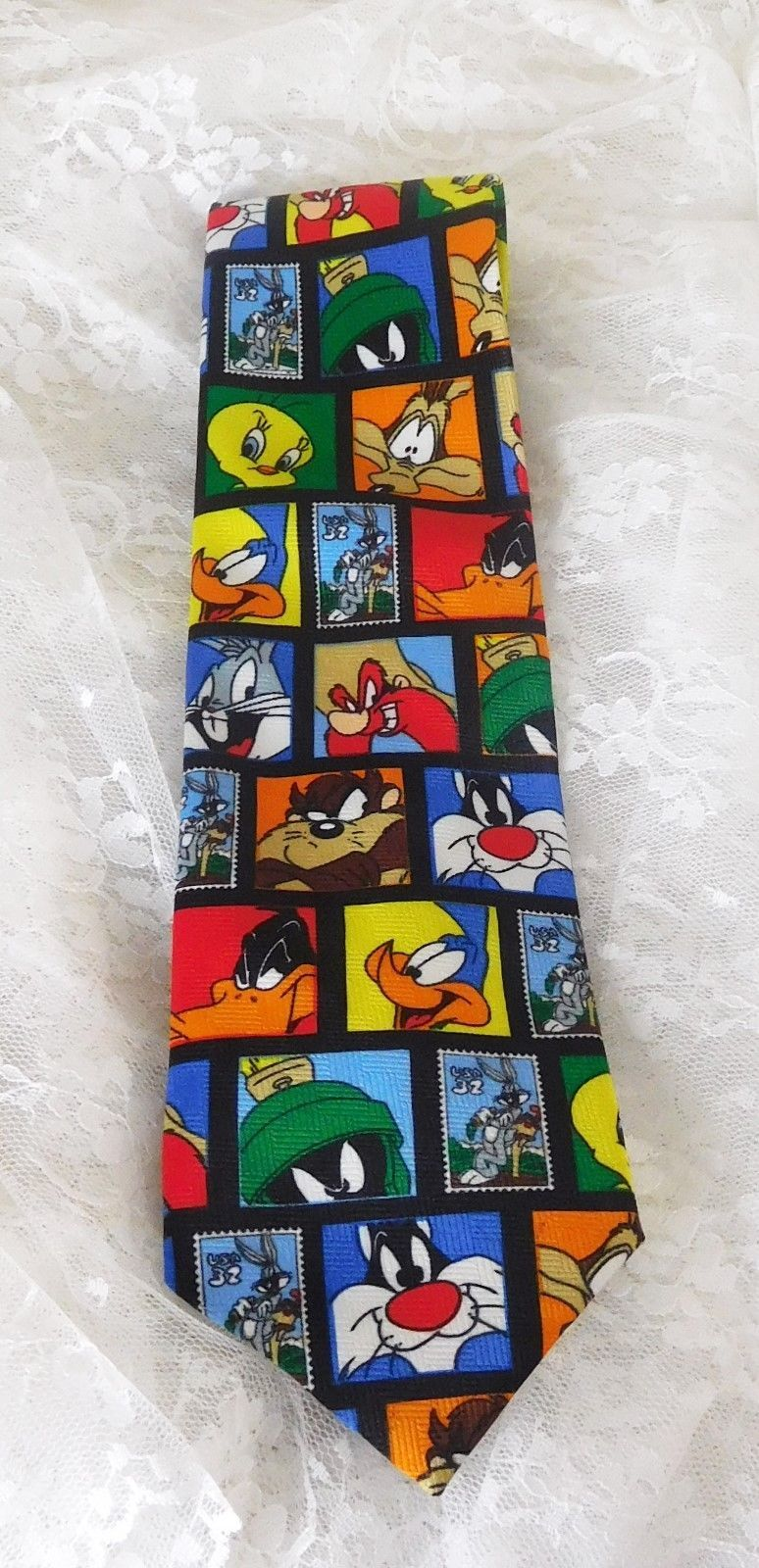 Primary image for LOONEY TUNES Men's Necktie Postal Stamp Collection 1997 Vintage