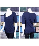 Whistles Size 2 Medium M Dark Blue Cotton Knotted V-Neck Knit Shirt Top ... - $24.74