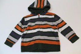 K4856 Boys Green Stripes GYMBOREE Long Sleeve Full Zip HOODIE Sweater 18-24 mo - $21.23