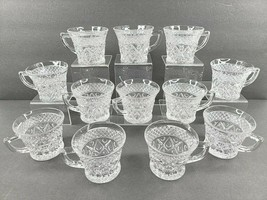 12 Imperial Glass Cape Cod Clear Punch Cups Set Vintage Depression Style... - $48.18