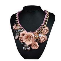 Ornament Crystal Flower Woman Necklace Woman Short Sweater Necklace    light pin - $18.80